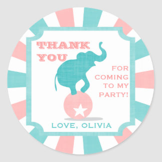 Pink | Teal Carnival Party Big Top Favor Sticker