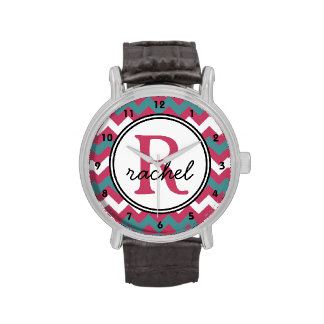 Pink Teal Chevron Monogram Personalized Wrist Watches