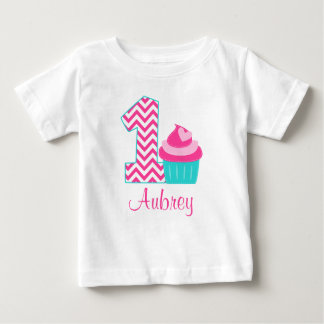 Pink Teal Cupcake 1st Birthday Personalized Baby T-Shirt