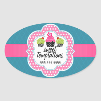Pink Teal Cupcake Bakery Business Oval Sticker