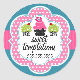 Pink Teal Cupcake Bakery Business Round Sticker