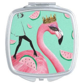Pink Teal Flamingo abstract cute hipster mirror Compact Mirrors