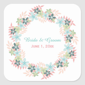 Pink Teal Floral Wreath Wedding Stickers