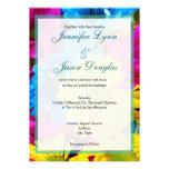 Pink Teal Gerber Daisy Flowers Wedding Invitations