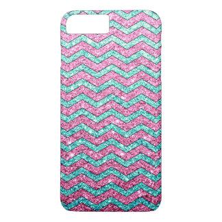 Pink Teal Glitter Zigzag Chevron Pattern iPhone 7 Plus Case
