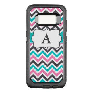 Pink Teal Gray Chevron Monogram OtterBox Commuter Samsung Galaxy S8 Case