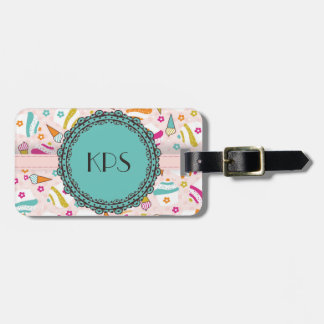 Pink Teal Ice Cream Cupcakes Monogram Luggage Tag