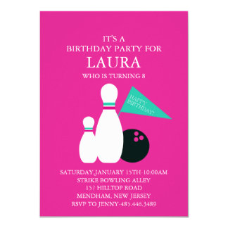 Pink & Teal Kids Bowling Party Birthday Invitation