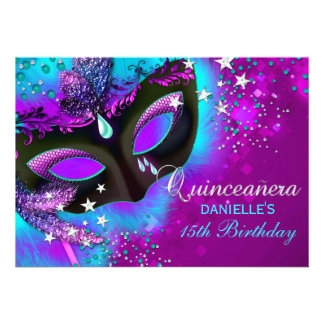 Pink Teal Masquerade Quinceanera Invitation
