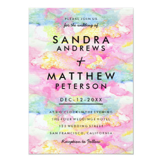 Pink teal pastel modern watercolor wedding 13 cm x 18 cm invitation card