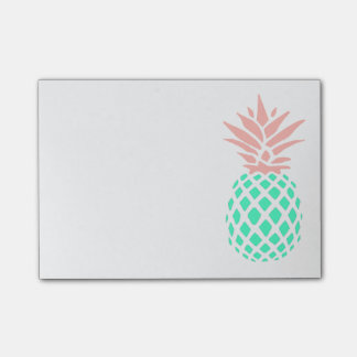 pink teal pineapple post-it notes