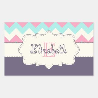 Pink Teal Purple Chevron Rectangular Sticker