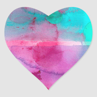 Pink Teal Purple Ombre Watercolor Heart Sticker