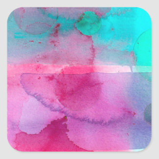 Pink Teal Purple Ombre Watercolor Square Sticker