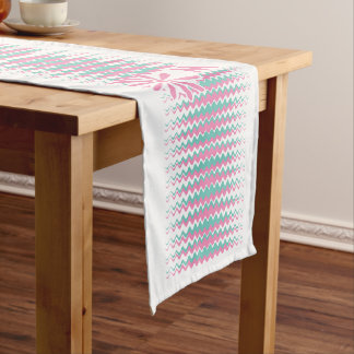 Pink & Teal Stripes custom monogram table runner