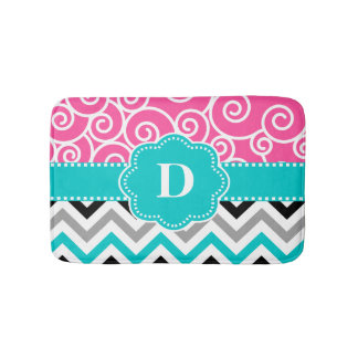 Pink Teal Swirl Chevron Monogram Bathmat Bath Mats