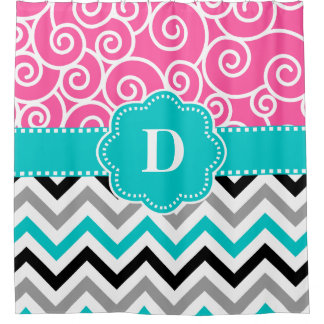 Pink Teal Swirl Chevron Personalized Shower Curtain
