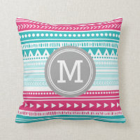 Tribal Monogram Decorative Pillow