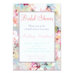 Pink Teal Watercolor Chic Floral Bridal Shower 13 Cm X 18 Cm Invitation Card