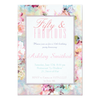 Pink teal watercolor chic floral fabulous 50 card