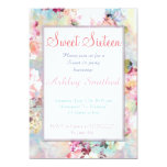 Pink Teal Watercolor Chic Floral Pattern Sweet 16 13 Cm X 18 Cm Invitation Card