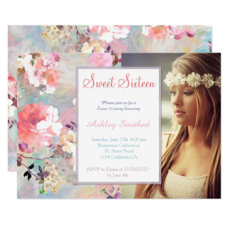 Pink teal watercolor chic floral photo Sweet 16 Card