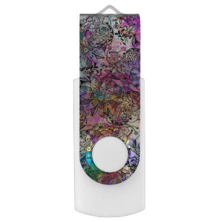 Pink teal watercolor hand painted tangle floral USB flash drive