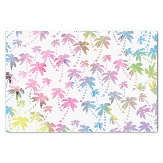Pink teal watercolor modern palm tree pattern tissue