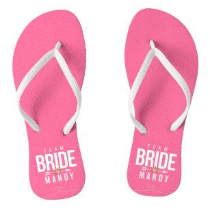 5f7e20e35707c Pink TEAM BRIDE Bridesmaid Wedding Party Sandals