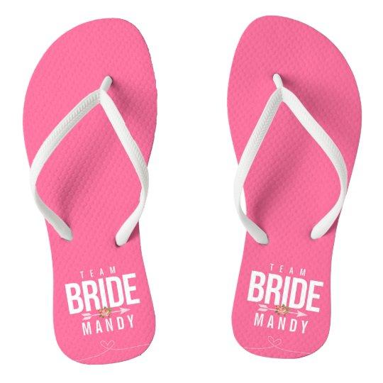 Pink TEAM BRIDE Bridesmaid Wedding Party Sandals