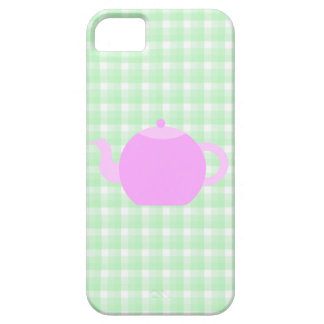 Pink Teapot Design on Green Check. iPhone 5 Cases