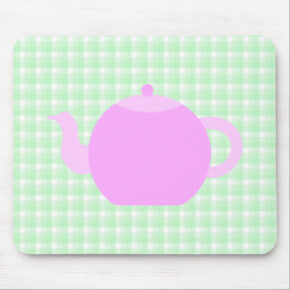Pink Teapot Design on Green Check. Mouse Mat