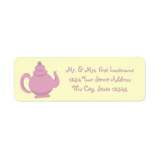 Pink Teapot Return Address Label