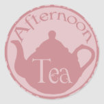 Pink Teapot Tea Party DIY Cupcake Toppers Stickers