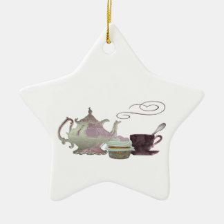 Pink Teapot, Teacup and Cupcake Art Ceramic Star Decoration