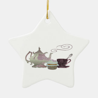 Pink Teapot, Teacup and Cupcake Art Christmas Ornament