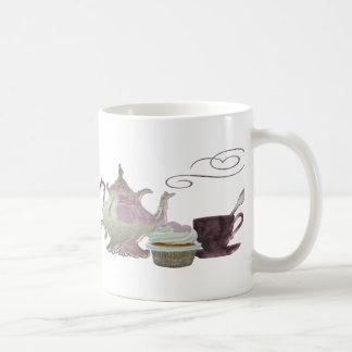 Pink Teapot, Teacup and Cupcake Art Coffee Mug