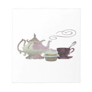 Pink Teapot, Teacup and Cupcake Art Notepad