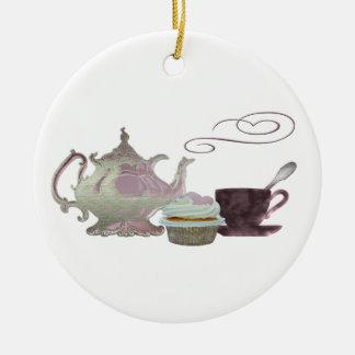 Pink Teapot, Teacup and Cupcake Art Round Ceramic Decoration