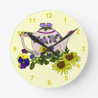 Pink Teapot With Flowers on Yellow Round Clock
