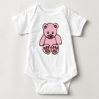 Pink teddy baby vest baby bodysuit