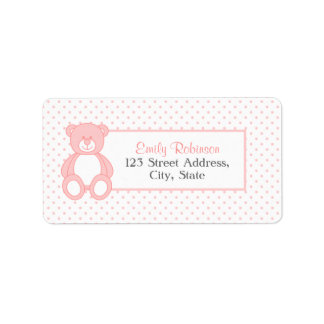 Pink Teddy Bear Address Labels