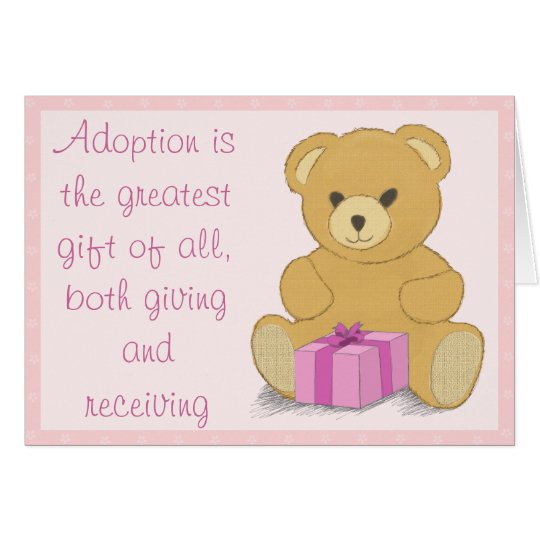 Pink Teddy Bear Adoption Day Congratulations Card