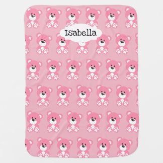 Pink Teddy Bear Baby Blanket