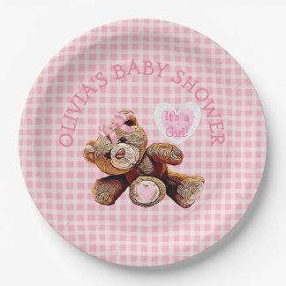 Pink Teddy Bear Baby Shower Paper Plates