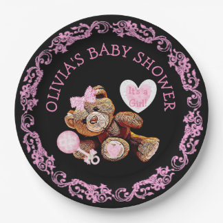 Pink Teddy Bear Baby Shower Paper Plates 9 Inch Paper Plate