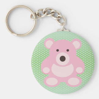 Pink Teddy Bear Basic Round Button Key Ring