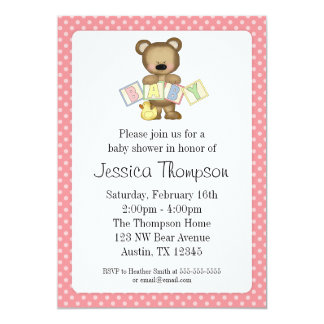 Pink Teddy Bear Blocks Baby Shower Invitations