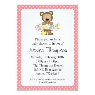 Pink Teddy Bear Blocks Baby Shower Invitations
