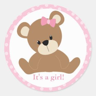 Pink Teddy Bear Classic Round Sticker